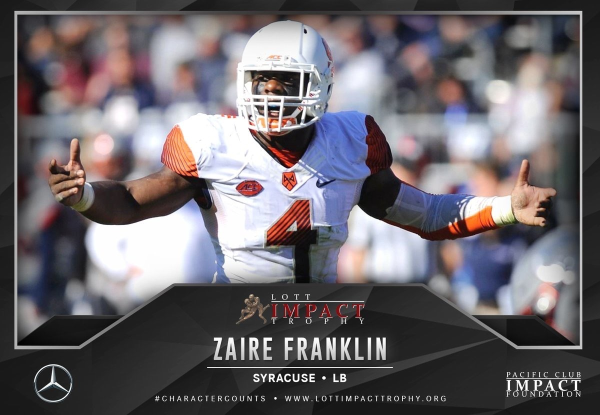 Zaire Franklin '14 Quarterfinalist For Lott IMPACT Trophy