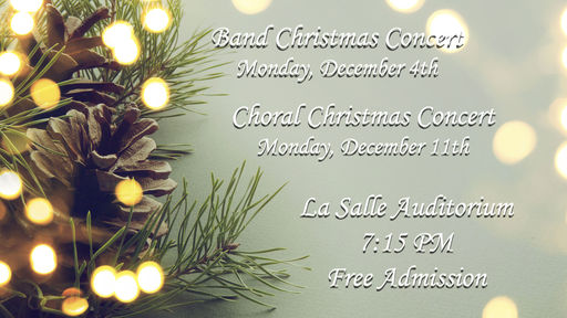 Music Department To Host Annual Christmas Concerts