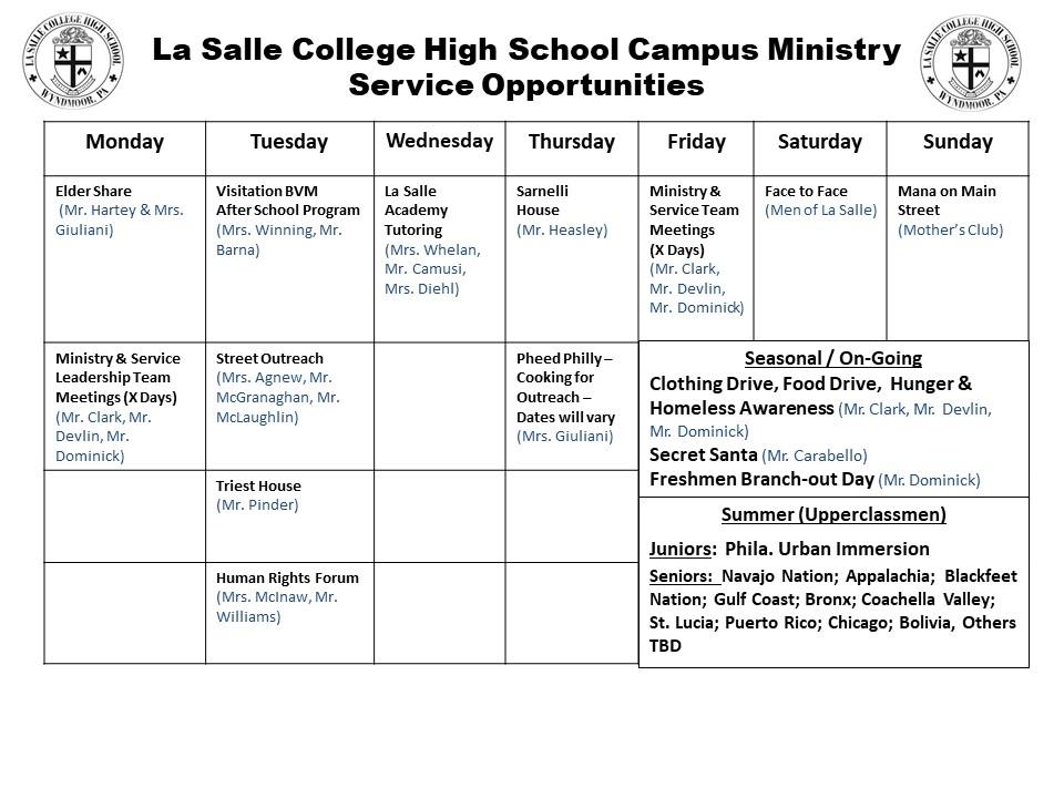 weekly service calendar
